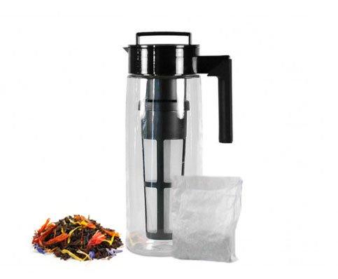 Art of Tea - Takeya 2 Quart Cold Brew Iced Tea Maker BPA Free Pitcher with Airtight seal Garden of Eden Iced Tea 4 x 2 Qt Pouches