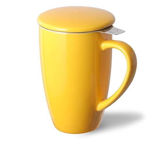 Sweejar Porcelain Tea Mug with Infuser and LidTeaware with Filter Loose Leaf Tea Cup Steeper Maker 16 OZ for TeaCoffeeMilkWomenOfficeHomeGift
