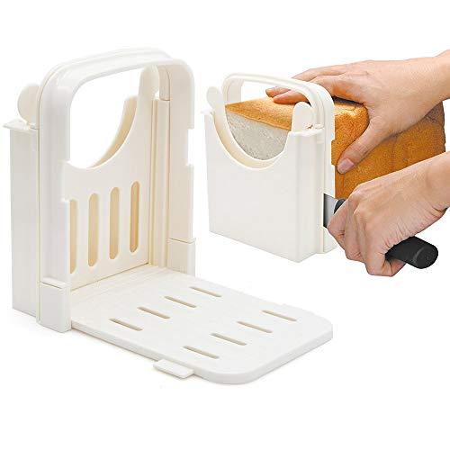 Amyhome Bread SlicerAdjustable Toast Slicer Toast Cutting Guide Folding Bread Toast Slicer Bagel Loaf Slicer Sandwich Maker Toast Slicing Machine with 5 Slice Thicknesses
