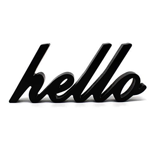 CVHOMEDECO Matt Black Wooden Words Sign Free Standing Hello DeskTableShelfHome WallOffice Decoration Art 10-12 x 4-12 x 1 Inch