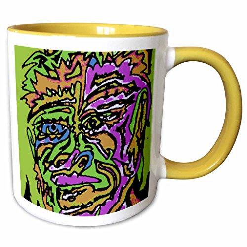 3dRose AlienJunkyard Folk Art - Wooden Vase - 11oz Two-Tone Yellow Mug mug_12741_8