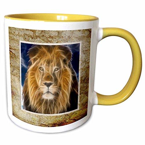 3dRose Spiritualawakenings_Animals - King of the jungle lion in fractal art with wooden look frame - 11oz Two-Tone Yellow Mug mug_167224_8