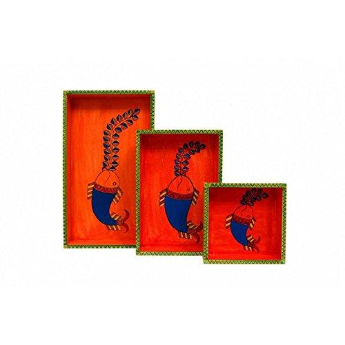 Set of Three Handpainted Madhubani Art Wooden Serving Tray Set Wooden Tray Set