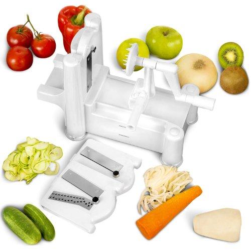 The Crafty Kitchen Tri Blade Vegetable Slicer - Spiral Cutter - Spiralizer for Vegetables, Fruit and Raw Food...