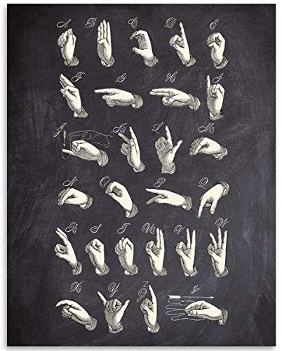 Chalkboard Look - American Sign Language ASL - 11x14 Unframed Art Print - Great Decor and Gift for School the Hearing Impaired and Speech Therapists Under 15