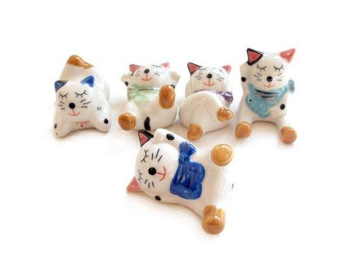 5pcs Chinese Ceramic Lucky Cat Pattern Chopstick Rest Spoon Fork Knife Holder