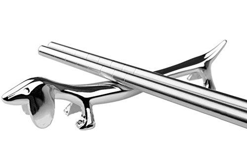 Funnuf Silver Zinc Alloy Dog Chopsticks Rest Spoons Stand Forks Knifes Holder Pack of 5