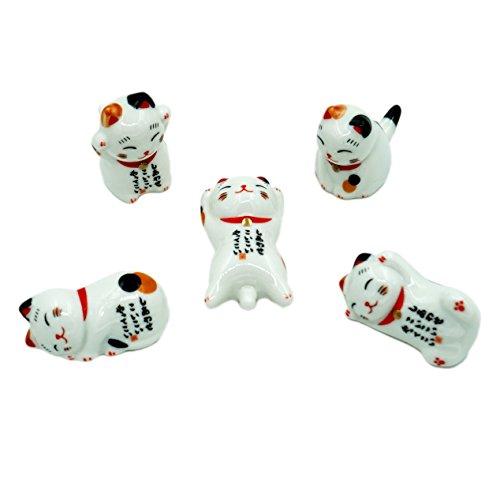 Popculta Cute Lucky Cat Chopsticks Rest Dinner Spoon Stand Knife Fork Holder Set of 5