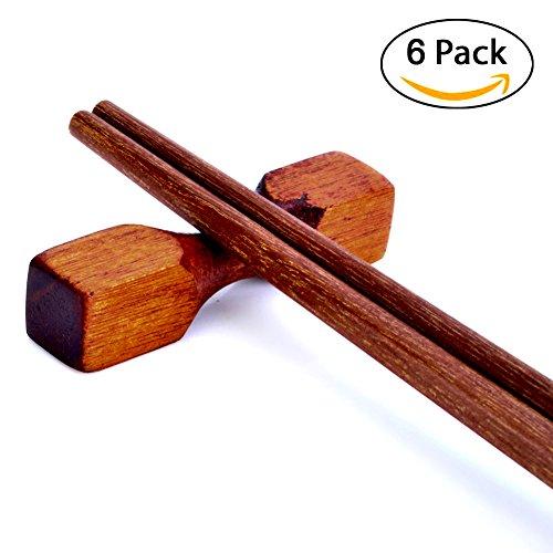 Tea Tanlent Handcrafted Wooden Chopsticks Rest or Dinner Spoon Stand Fork and Knife Holder Home Decor Set of 6Dumbbell Shape