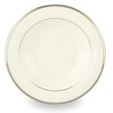 Lenox Solitaire White Platinum Banded Bone China Pasta BowlRim Soup