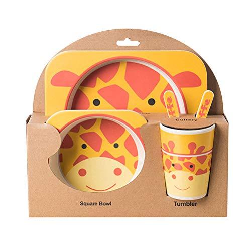 5 Pcs Bamboo Fiber Cartoon Giraffe Childrens Cutlery Set Environmental Friendly Kids Dinnerware Set Baby Feeding Plate Bowl Tumbler Kit
