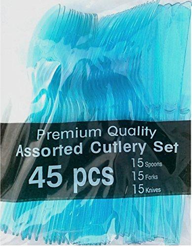 Aqua Blue Cutlery Set-45pcs