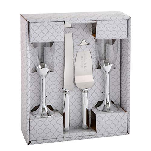 Personalized Engraved Customized Wedding Cake Knife Server Set with Champagne Toasting Flutes Silver Elegance Style