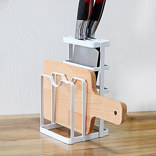 GeLive Metal Cutting Board Chopper Hoder Knife Block Drying Rack Kitchen Storage Organizer Counter Display Stand