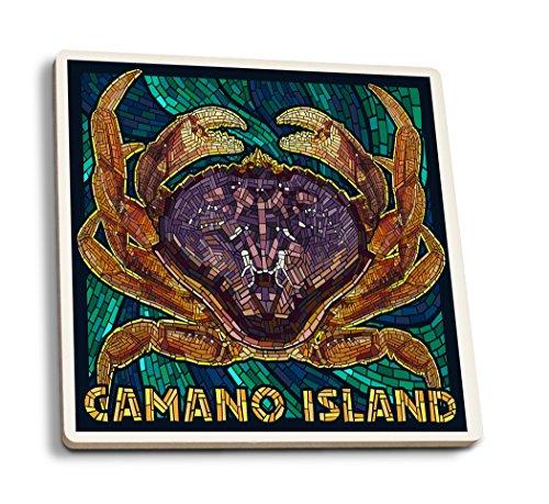 Camano Island Washington - Mosaic Dungeness Crab Set of 4 Ceramic Coasters - Cork-backed Absorbent