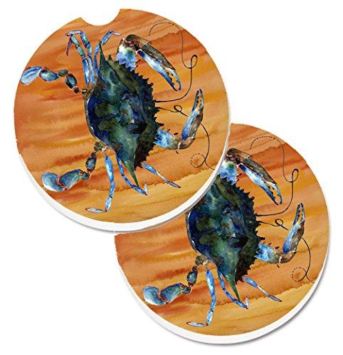 Carolines Treasures Crab Set of 2 Cup Holder Car Coasters 8143CARC 256 Multicolor