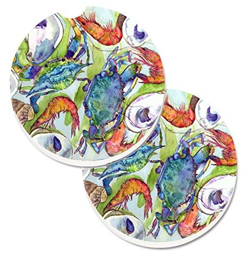 Carolines Treasures Crab Set of 2 Cup Holder Car Coasters 8547CARC 256 Multicolor