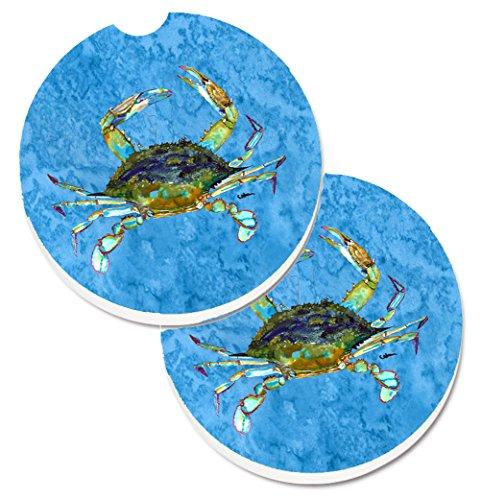 Carolines Treasures Crab Set of 2 Cup Holder Car Coasters 8656CARC 256 Multicolor