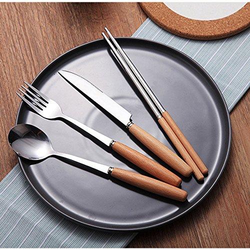 Dinnerware Set Stainless Steel Flatware Set of 4Wooden Handle Fork Spoons Knife Chopsticks Tableware GiftBox Packing Chinese Chopsticks for Friend Family Teacher