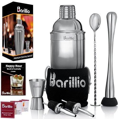 Elite Cocktail Shaker Set Bartender Kit by BARILLIO 24 oz Stainless Steel Martini Mixer Muddler Mixing Spoon jigger 2 liquor pourers Velvet Bag Recipes Booklet eBook