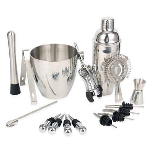 YaeTek 16-Piece Stainless Steel Wine and Cocktail Mixing Bar Set - Bar Kit Includes Essential Barware Tools Ice Bucket Shaker Strainer Muddler Jigger Stirrer Spoon Stoppers Bartender Kit