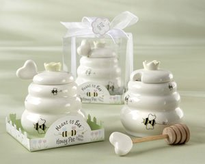 Meant to Bee Ceramic Honey Pot with Wooden Dipper - Set of 50