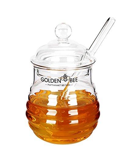 Fecihor Glass Honey Jar  Honey Pot Jam Jar with dipper and Lid CoverClear9 Ounces