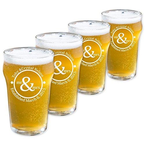 Personalized English Pub Beer Glasses Set of 4 Pub 10oz
