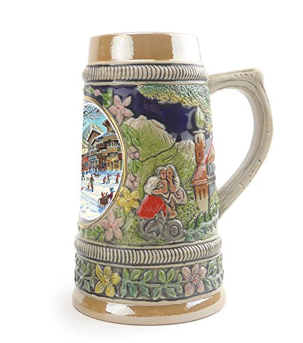 """Winter In Germany"" Essence of Europe Gifts EHG Collectible Ceramic Shot Glass Mini Beer Stein 1 in Collection of Four Shot Steins"