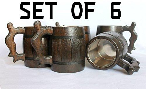 Set of 6 Wood Beer Mug Wooden Beer Mug with Stainless steel Eco - Friendly Wood Beer Mug Brown 06L 2028oz