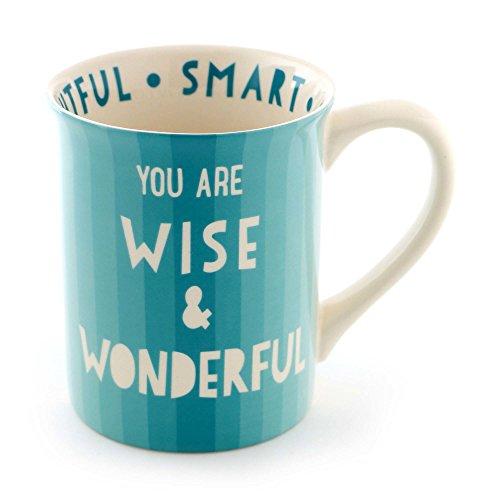 "Enesco 6000079 Our Name Is Mud ""Wisdom"" Stoneware Coffee Mug 16 oz Aqua"