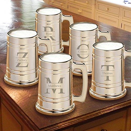 Personalized Set of 5 Gunmetal Beer Mugs - Personalized Beer Mugs - Stamped Monogram
