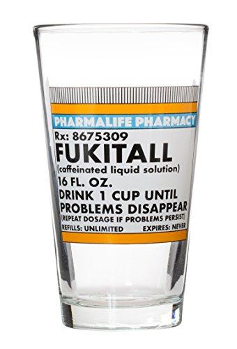 Fukitall - Caffeinated Liquid Solution - Choice of Funny Large 15 Oz Mug or Pint Glass Glass
