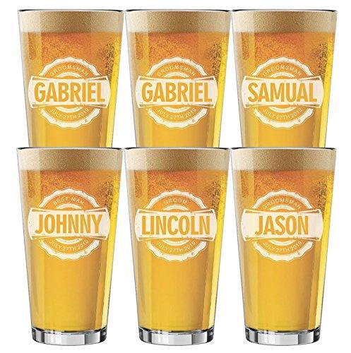 Set of 4 Set of 6 and more Custom Engraved Groomsmen 16 oz Pint Beer Glasses - Bottle Cap Style 6