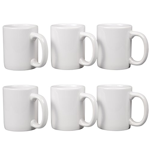 Creative Home 85355 Set of 6 Piece 12 oz Ceramic Coffee Mug Tea Cup 3-14 D X 4 H White
