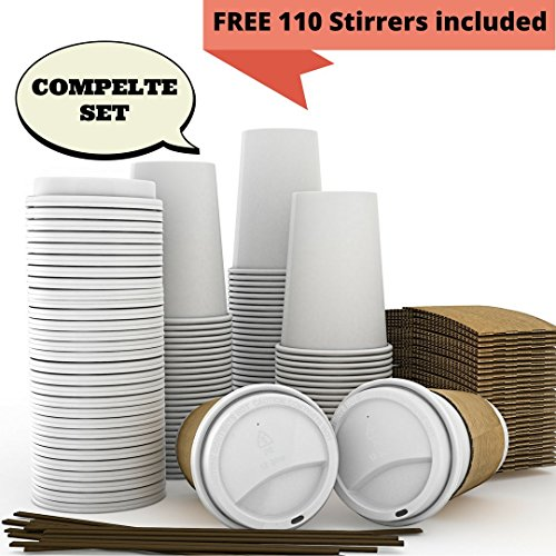 JUMBO Set of 110 - Paper Coffee Hot Cups Travel Lids Sleeves Stirrers -12oz  360ml - WHITE Paper Cups - to go Coffee Cups Disposable Travel Mug Cover HotCold Coffee Tea Chocolate Hot Coco