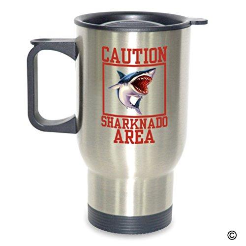 MsMr Personalized Travel Mug Funny Coffee Mug Designed - Caution Sharknado Area - 14 Ounce Stainless Steel Travel Mug Silver