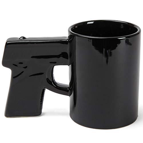 BigMouth Inc Gun Mug Black Coffee Mug Ceramic Holds 14 Oz Perfect for Coffee Tea