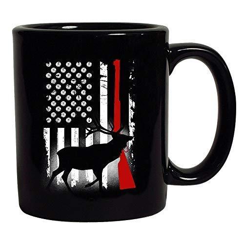 Deer Antlers Gun Hunting American Flag Patriotic Black Coffee Mug Black 11 oz
