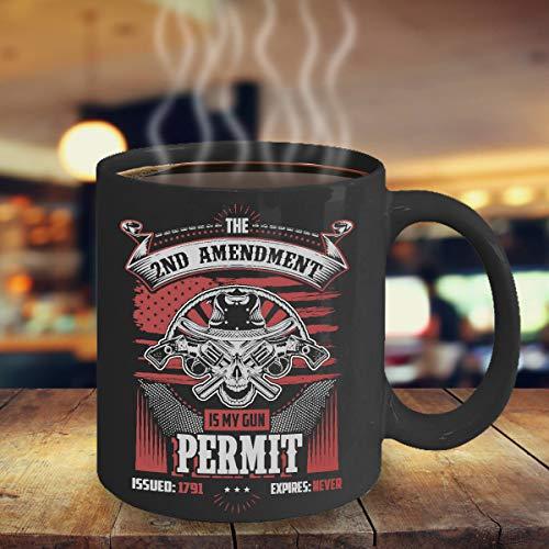 Gun Lover Gift 2nd Amendment is My Gun Permit Black Coffee Mug Gun Enthusiast Mug Gift for Him NRA Member Mug