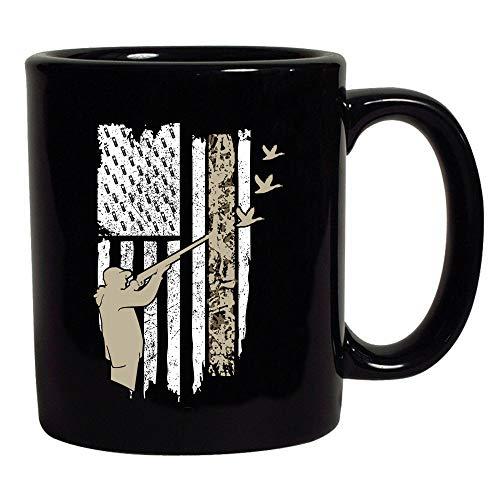 Hunting Flag Gun Rifle Hunt Duck American Flag USA Black Coffee Mug Black 11 oz
