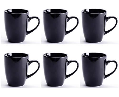 LEANDALE Black Ceramic Cup setCoffee Mug Set10 OZ Black-set of 6