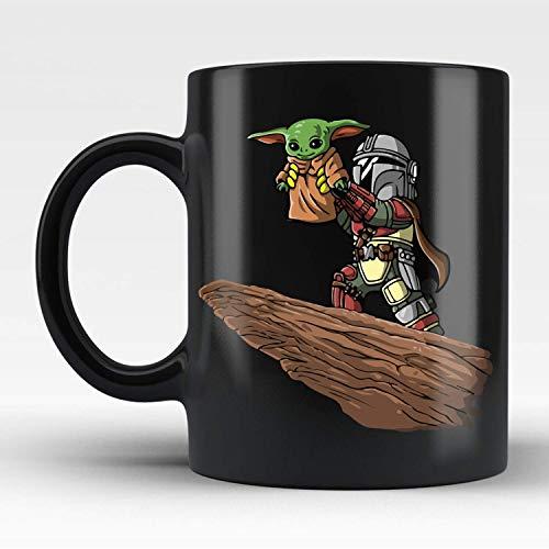 The Mandalorian Boba Fett Baby Yoda Black Coffee Mug 11oz