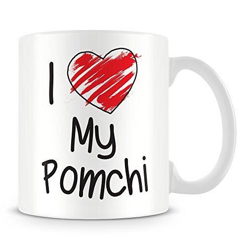 I Love My Pomchi Personalised Coffee Mugs Funny Christmas Mug Ceramic Mug Cup 11oz Present for Him Gift for Her