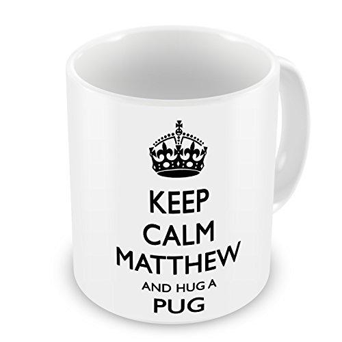 Keep Calm And Hug A Pug Personalised Coffee Mugs for Mom Christmas Presents Motivational Mug Cup Funny Ceramic Cup 11oz Mugs Gifts