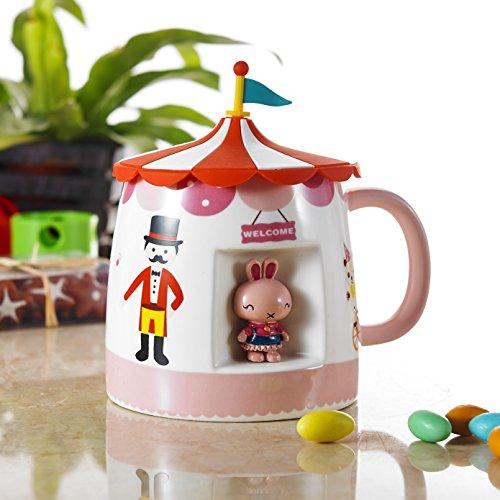 Panbado 15oz Porcelain Castle Design Cartoon Animal Tea Coffee Milk Mug Novelty Ceramic Cup with Lid - Pink Rabbit