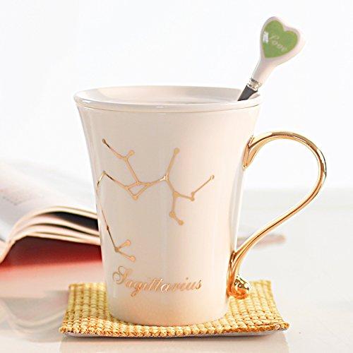 Twelve constellations Ceramic cup With lid spoon fashion Mug Couples Cup Spoon color randomSagittarius