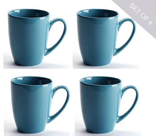 LEANDALE Aaron Bistro Ceramic Coffee Tea Mug Cup Set 12 OZ Solid MultiColor Set of 4 Lake Blue