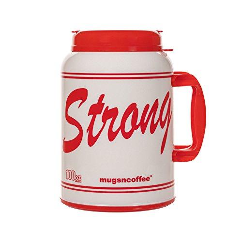 100 oz Giant Insulated Mug with Straw -  USA Strong - Large Red Travel Mug  Jumbo Mug