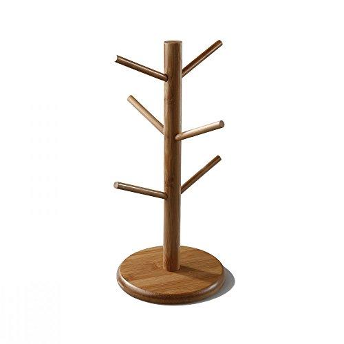 Coffee Mug Rack with 6 Hooks Air Drying Stand Tea Cup Rack Removable Bamboo Mug Stand